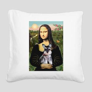 Mona Lisa's Schnauzer Puppy Square Canvas Pillow