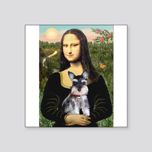 "Mona Lisa's Schnauzer Puppy Square Sticker 3"" x 3"""