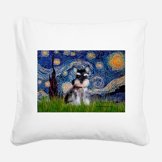 Starry / Schnauzer Square Canvas Pillow