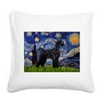 Starry Night / Schnauzer Square Canvas Pillow