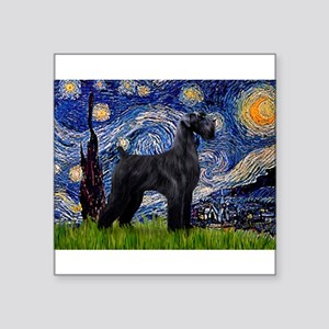 "Starry Night / Schnauzer Square Sticker 3"" x 3"""