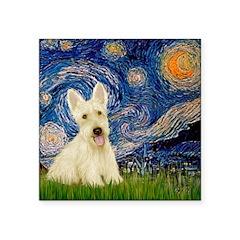 Starry Night / Scottie (w) Square Sticker 3