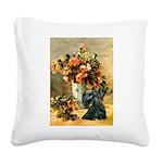 Vase / Scottie (blk) Square Canvas Pillow