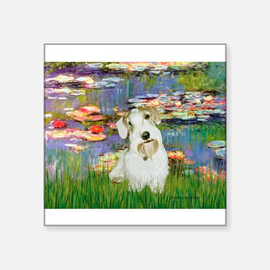 "Lilies (#2)/Sealyham L2 Square Sticker 3"" x 3"""
