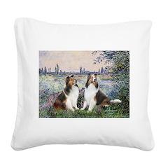 Seine / 2 Shelties (dl) Square Canvas Pillow