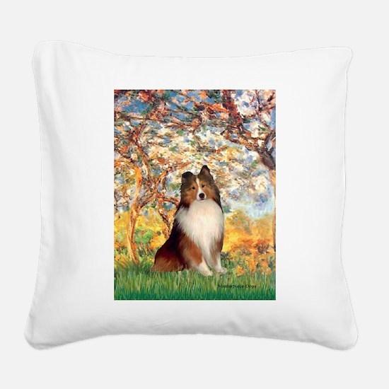 Spring / Sheltie (#1) Square Canvas Pillow