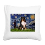 Starry Night / Sheltie (t) Square Canvas Pillow