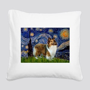 Starry / Sheltie (s&w) Square Canvas Pillow