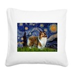 Starry / Sheltie (s&w) Square Canvas Pillow