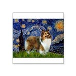 Starry / Sheltie (s&w) Square Sticker 3