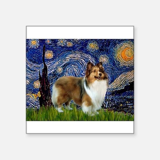"""Starry / Sheltie (s&w) Square Sticker 3"""" x 3"""""""