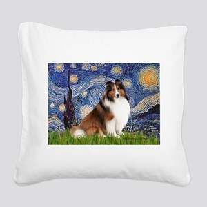Starry Night / Sheltie (s&w) Square Canvas Pillow