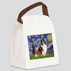 Starry Night / Sheltie (s&w) Canvas Lunch Bag