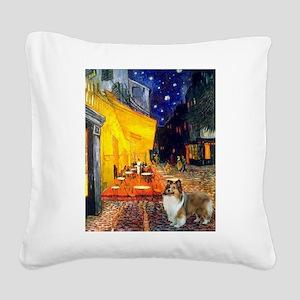 Cafe / Sheltie Square Canvas Pillow
