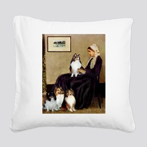 Whistler's / 3 Shelties Square Canvas Pillow