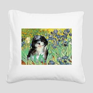 Irises / Shih Tzu #12 Square Canvas Pillow