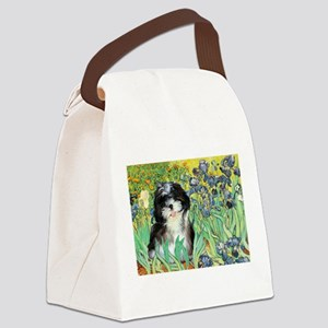 Irises / Shih Tzu #12 Canvas Lunch Bag