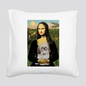 Mona Lisa/Shih Tzu (P) Square Canvas Pillow
