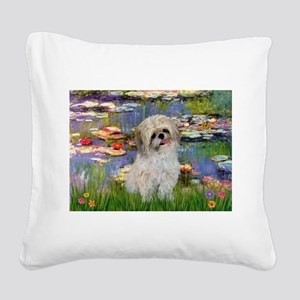 Lilies /Shih Tzu (p) Square Canvas Pillow