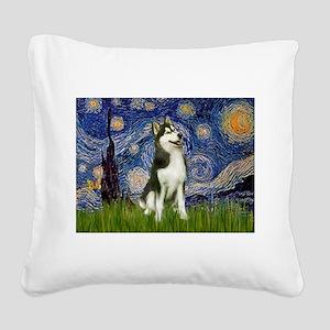 Starry Night & Husky Square Canvas Pillow