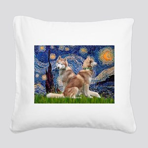 Starry Night Red Husky Pair Square Canvas Pillow