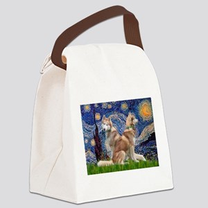 Starry Night Red Husky Pair Canvas Lunch Bag
