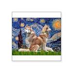 Starry Night Red Husky Pair Square Sticker 3