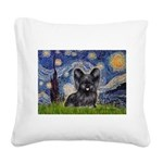 Starry / Black Skye Terrier Square Canvas Pillow