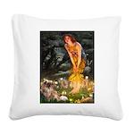 Fairies / Tibetan Spaniel Square Canvas Pillow