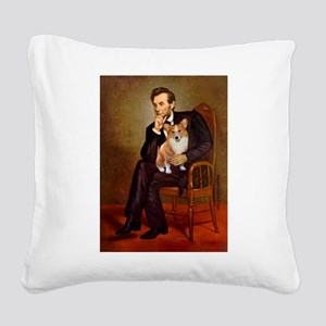 Lincoln's Corgi Square Canvas Pillow