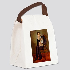Lincoln's Corgi Canvas Lunch Bag