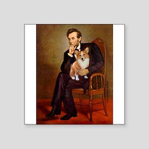 """Lincoln's Corgi Square Sticker 3"""" x 3"""""""