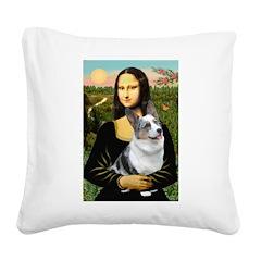 Mona's Corgi (Bl.M) Square Canvas Pillow