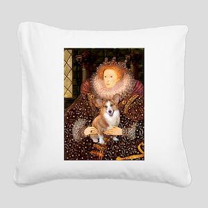 The Queen's Corgi Square Canvas Pillow