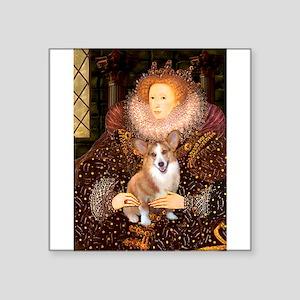 """The Queen's Corgi Square Sticker 3"""" x 3"""""""