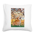 Spring / Corgi Square Canvas Pillow