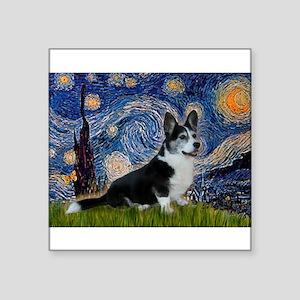 "Starry Night / Welsh Corgi(bi Square Sticker 3"" x"