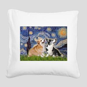 Starry Night / Corgi pair Square Canvas Pillow