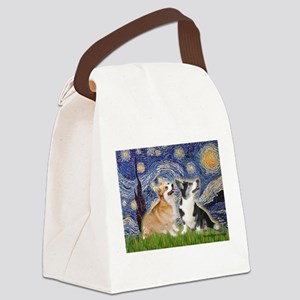 Starry Night / Corgi pair Canvas Lunch Bag