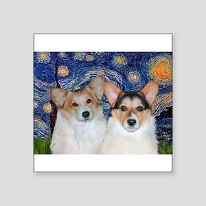 "Starry Night / Corgi pair Square Sticker 3"" x 3"""