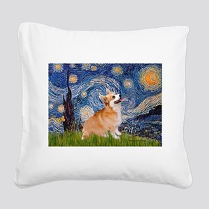 Starry Night Corgi Square Canvas Pillow