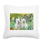 Irises-Westies 3and11 Square Canvas Pillow