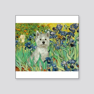 "Irises / Westie Square Sticker 3"" x 3"""