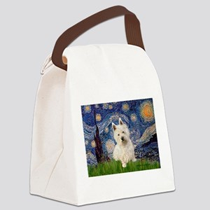 Starry Night/Westie Canvas Lunch Bag
