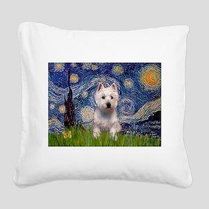 Starry - Westie (P) Square Canvas Pillow