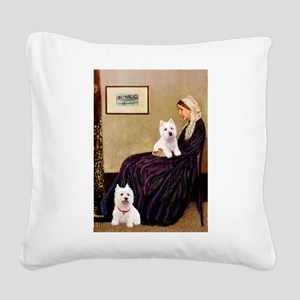 Whistlers Mom/2 Westies Square Canvas Pillow