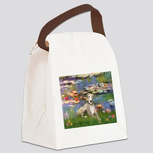 Lilies & Whippet Canvas Lunch Bag