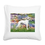 Lilies & Whippet Square Canvas Pillow