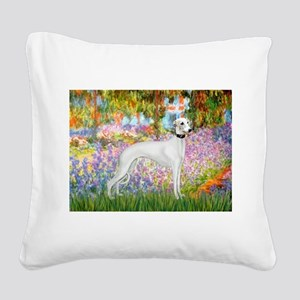 Whippet in Monet's Garden Square Canvas Pillow