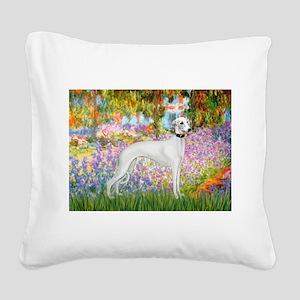 Whippet in Monet's Garden Square Canvas Pillow